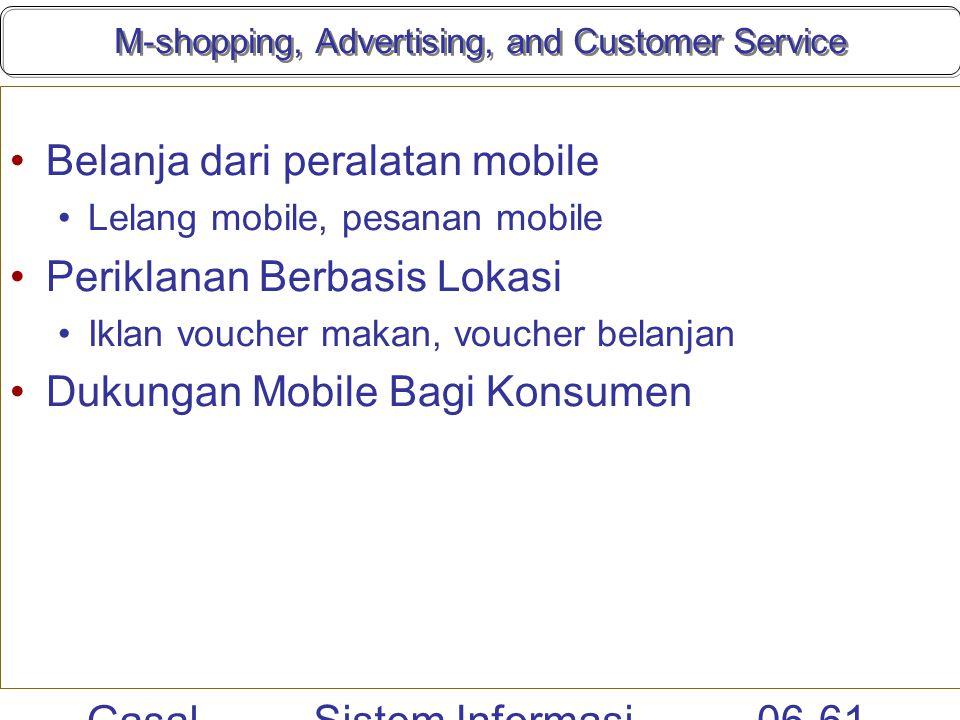 Gasal 2010 Sistem Informasi Manajemen 06-61 M-shopping, Advertising, and Customer Service Belanja dari peralatan mobile Lelang mobile, pesanan mobile