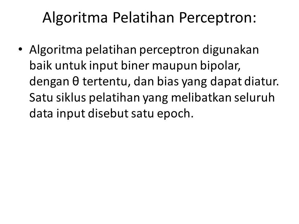 Algoritma Pelatihan Perceptron: Algoritma pelatihan perceptron digunakan baik untuk input biner maupun bipolar, dengan θ tertentu, dan bias yang dapat