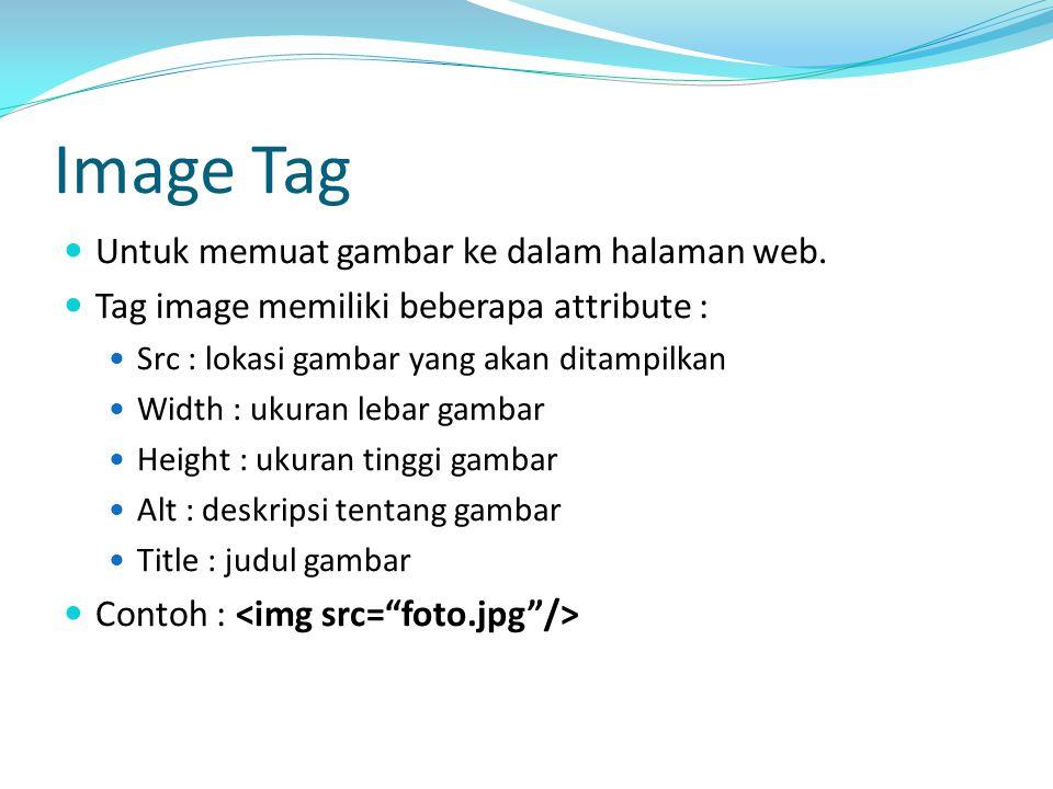 Image Tag Untuk memuat gambar ke dalam halaman web.