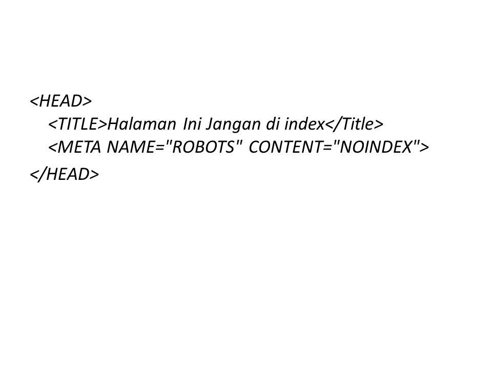 Halaman Ini Jangan di index