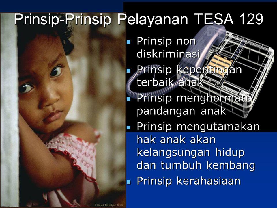 Prinsip-Prinsip Pelayanan TESA 129 Prinsip non diskriminasi Prinsip non diskriminasi Prinsip kepentingan terbaik anak Prinsip kepentingan terbaik anak