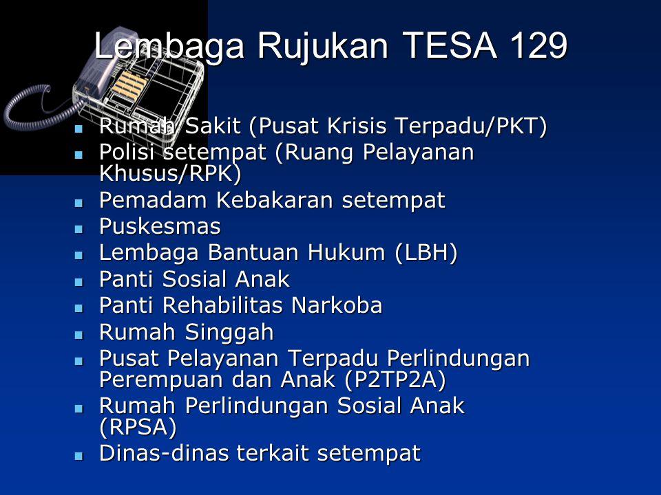 Lembaga Rujukan TESA 129 Rumah Sakit (Pusat Krisis Terpadu/PKT) Rumah Sakit (Pusat Krisis Terpadu/PKT) Polisi setempat (Ruang Pelayanan Khusus/RPK) Po