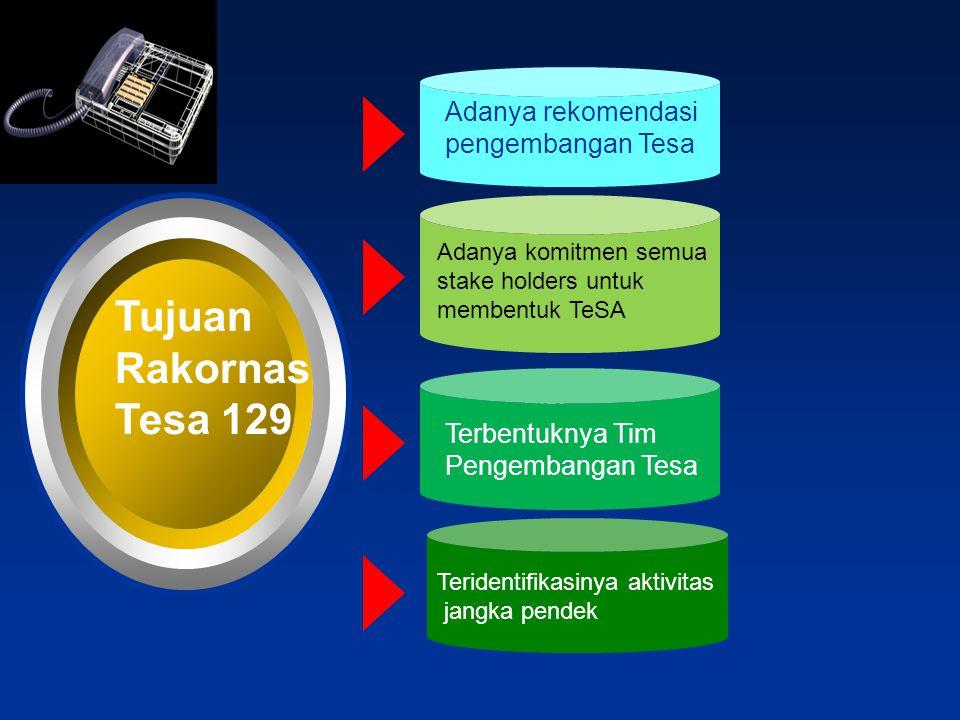Tujuan Rakornas Tesa 129 Adanya komitmen semua stake holders untuk membentuk TeSA Text Terbentuknya Tim Pengembangan Tesa Teridentifikasinya aktivitas