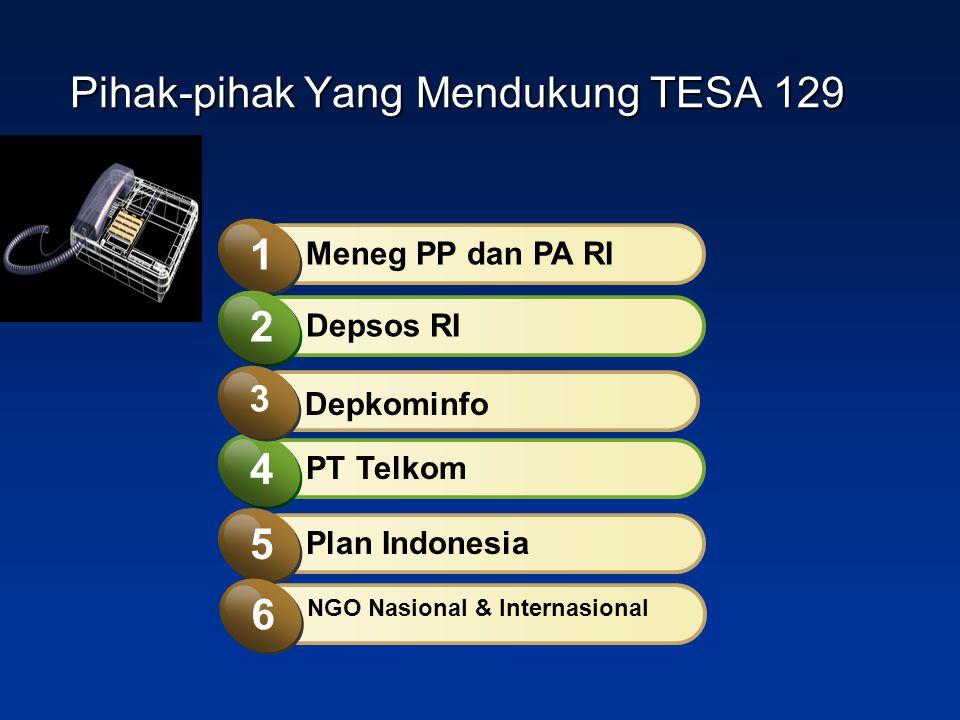 PT Telkom 4 Meneg PP dan PA RI 1 Depsos RI 2 Depkominfo 3 Plan Indonesia 5 NGO Nasional & Internasional 6 Pihak-pihak Yang Mendukung TESA 129