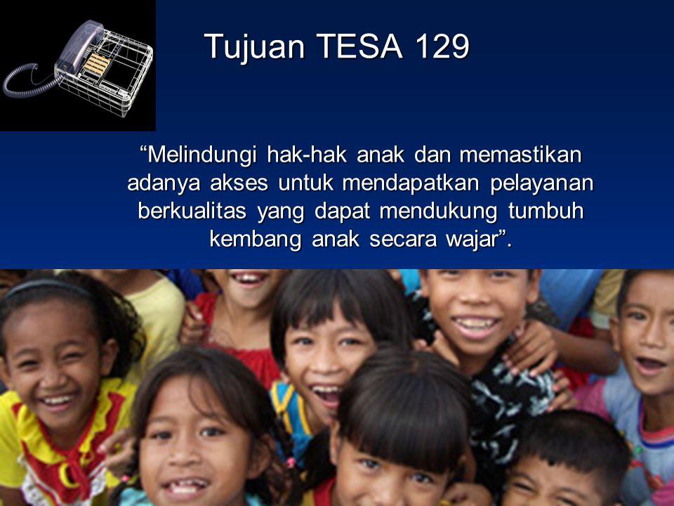 """Tujuan TESA 129 """"Melindungi hak-hak anak dan memastikan adanya akses untuk mendapatkan pelayanan berkualitas yang dapat mendukung tumbuh kembang anak"""