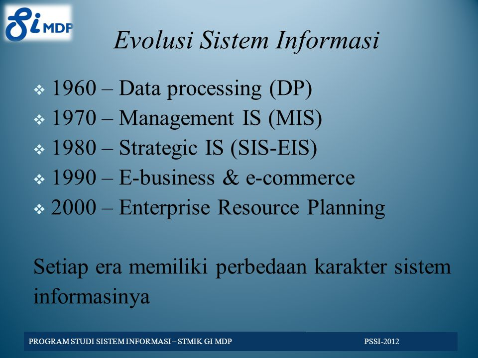 Evolusi Sistem Informasi  1960 – Data processing (DP)  1970 – Management IS (MIS)  1980 – Strategic IS (SIS-EIS)  1990 – E-business & e-commerce 