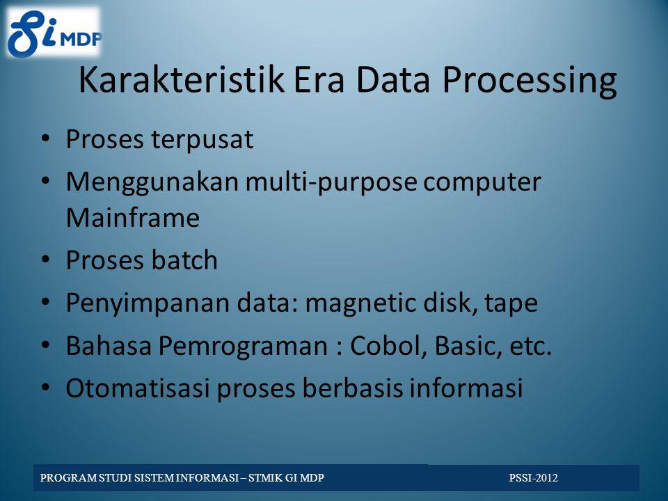 PSSI-2012 Evolusi (tiga masa) Sistem Informasi 1960 an1970 an1980 an1990 an Data Processing Management Information System Strategic Information System Tiga masa sistem informasi, (john Ward, 1990 : 12)