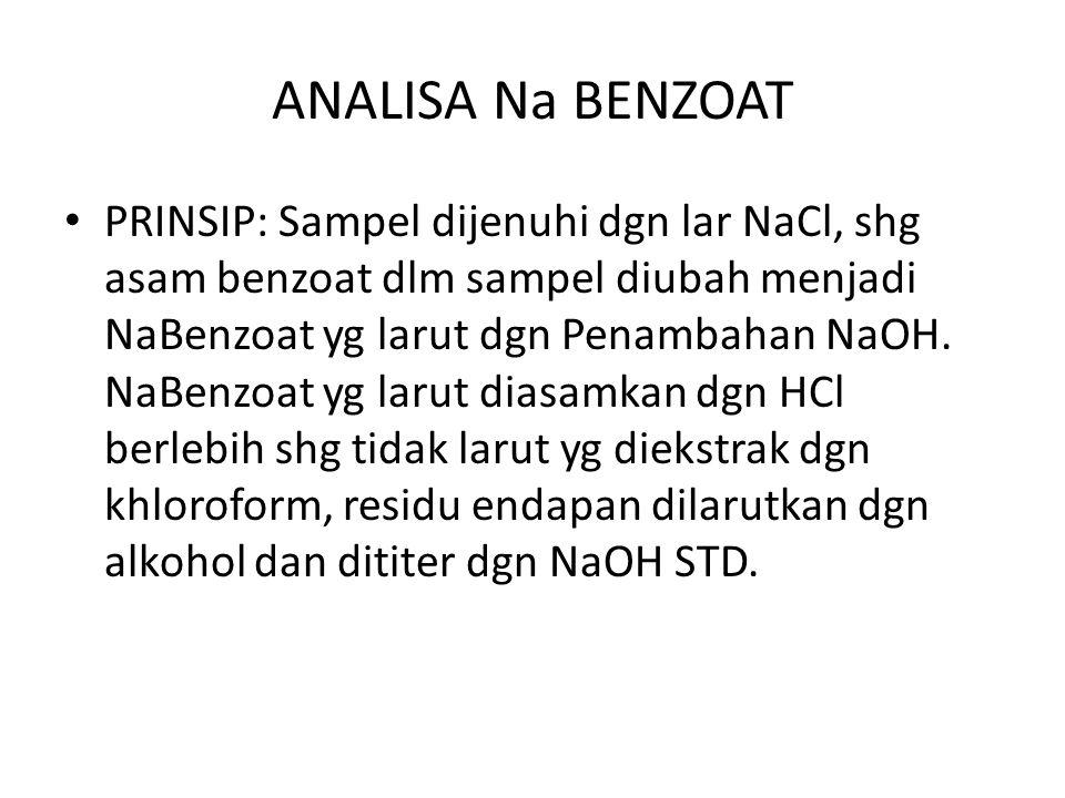 ANALISA Na BENZOAT PRINSIP: Sampel dijenuhi dgn lar NaCl, shg asam benzoat dlm sampel diubah menjadi NaBenzoat yg larut dgn Penambahan NaOH.