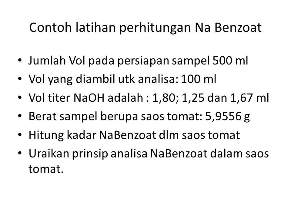 Contoh latihan perhitungan Na Benzoat Jumlah Vol pada persiapan sampel 500 ml Vol yang diambil utk analisa: 100 ml Vol titer NaOH adalah : 1,80; 1,25 dan 1,67 ml Berat sampel berupa saos tomat: 5,9556 g Hitung kadar NaBenzoat dlm saos tomat Uraikan prinsip analisa NaBenzoat dalam saos tomat.