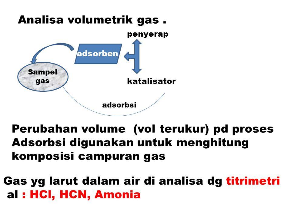 Contoh ilustrasi analisa gas : Penentuan gas CO  gas CO dilewatkan pada Larutan I 2 O 5  terbentuk CO 2 dan I 2.