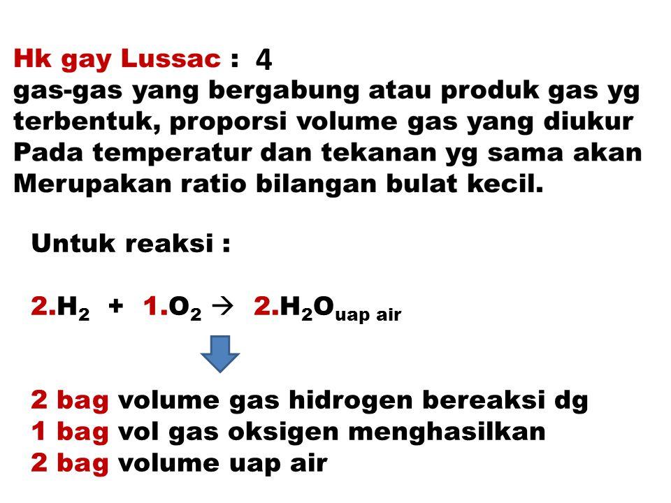 Contoh penerapan hk Gay Lussac 5 liter campuran gas terdiridari 0,5 bag H 2 0,25 bag CO, sisanya CH 4, apabila campuran Dibakar berapa jumlah O 2 yang dibutuhkan Reaksi pembakaran yg terjadi.