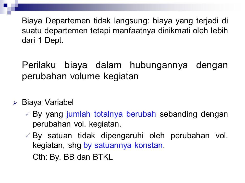Biaya Departemen tidak langsung: biaya yang terjadi di suatu departemen tetapi manfaatnya dinikmati oleh lebih dari 1 Dept.