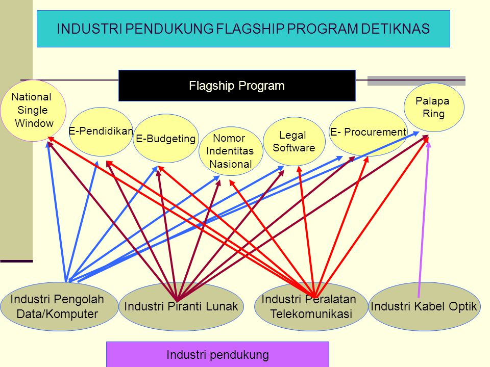 E-Pendidikan National Single Window E-Budgeting Nomor Indentitas Nasional Legal Software E- Procurement Palapa Ring Industri Pengolah Data/Komputer In
