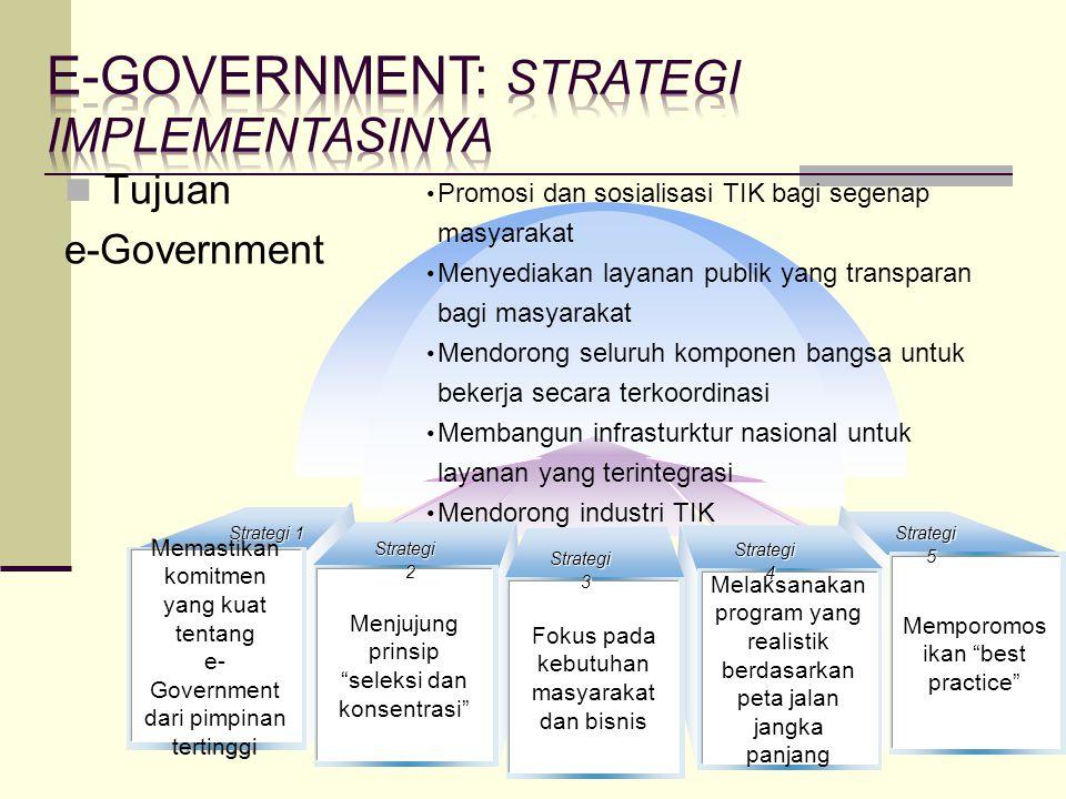 """Tujuan e-Government Memastikan komitmen yang kuat tentang e- Government dari pimpinan tertinggi Memporomos ikan """"best practice"""" Menjujung prinsip """"sel"""