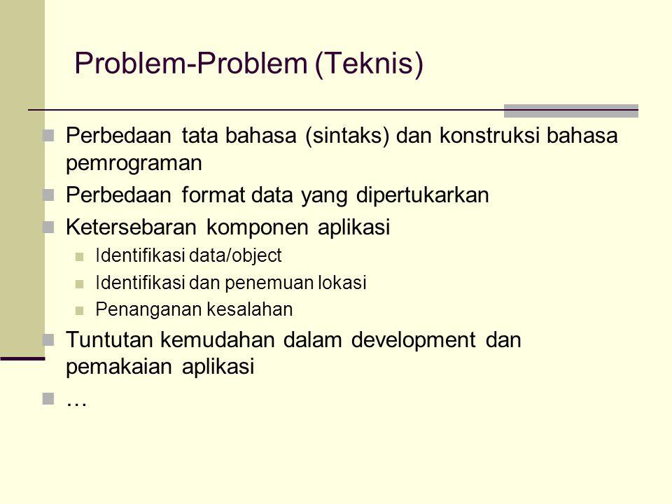 Problem-Problem (Teknis) Perbedaan tata bahasa (sintaks) dan konstruksi bahasa pemrograman Perbedaan format data yang dipertukarkan Ketersebaran kompo