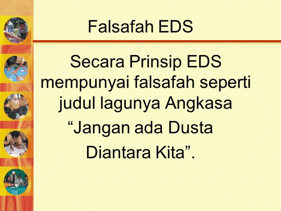 """Falsafah EDS Secara Prinsip EDS mempunyai falsafah seperti judul lagunya Angkasa """"Jangan ada Dusta Diantara Kita""""."""