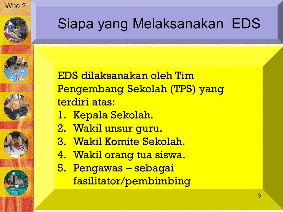 EDS dilaksanakan oleh Tim Pengembang Sekolah (TPS) yang terdiri atas: 1.Kepala Sekolah. 2.Wakil unsur guru. 3.Wakil Komite Sekolah. 4.Wakil orang tua