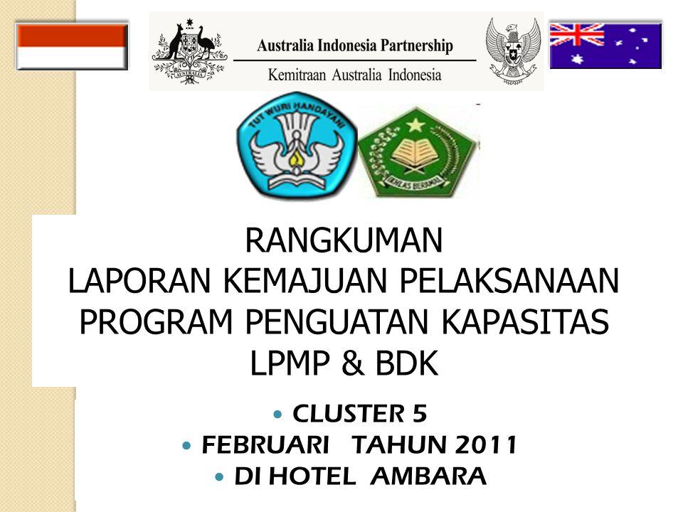 CLUSTER 5 FEBRUARI TAHUN 2011 DI HOTEL AMBARA RANGKUMAN LAPORAN KEMAJUAN PELAKSANAAN PROGRAM PENGUATAN KAPASITAS LPMP & BDK