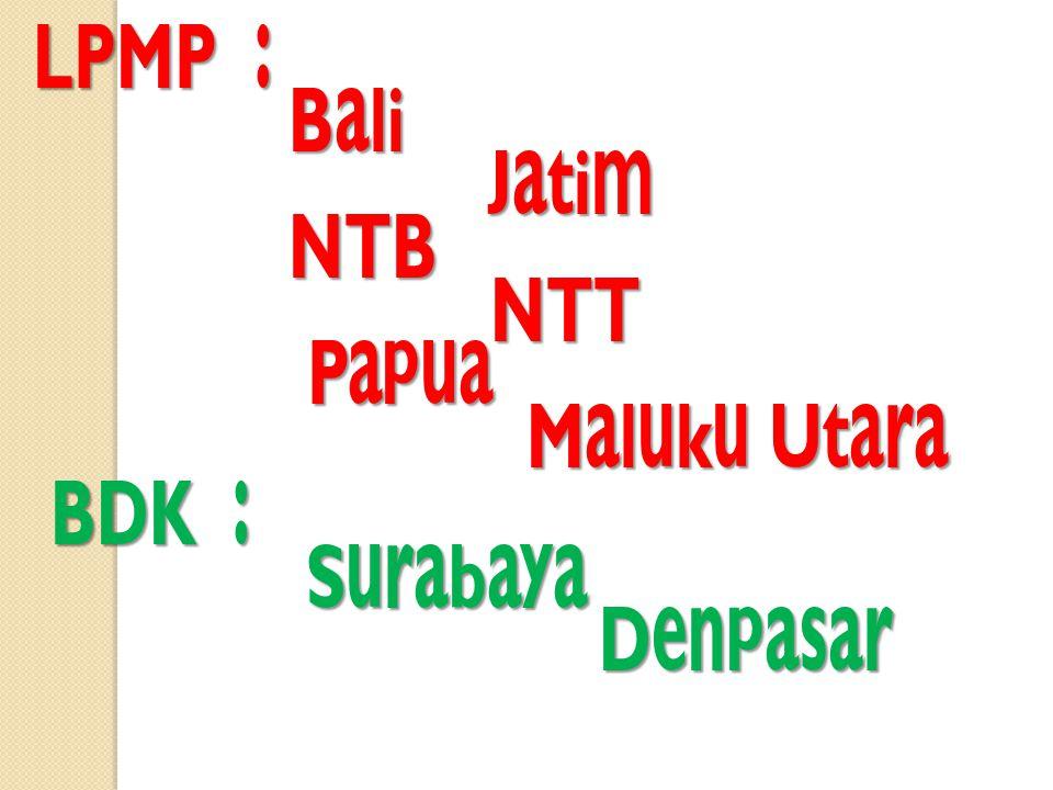LPMP : Bali Bali Jatim Jatim NTB NTB NTT NTT Papua Papua Maluku Utara Maluku Utara BDK : Surabaya Surabaya Denpasar Denpasar