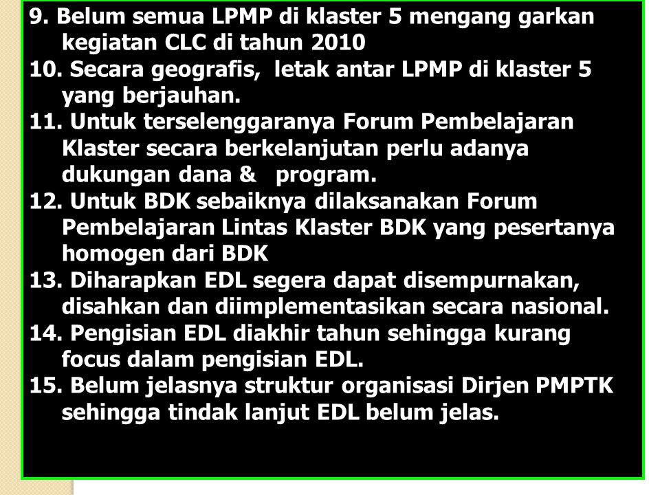 9. Belum semua LPMP di klaster 5 mengang garkan kegiatan CLC di tahun 2010 10.