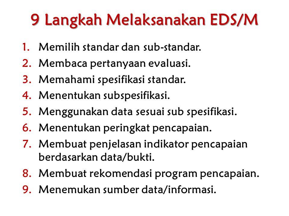 9 Langkah Melaksanakan EDS/M 1.Memilih standar dan sub-standar. 2.Membaca pertanyaan evaluasi. 3.Memahami spesifikasi standar. 4.Menentukan subspesifi