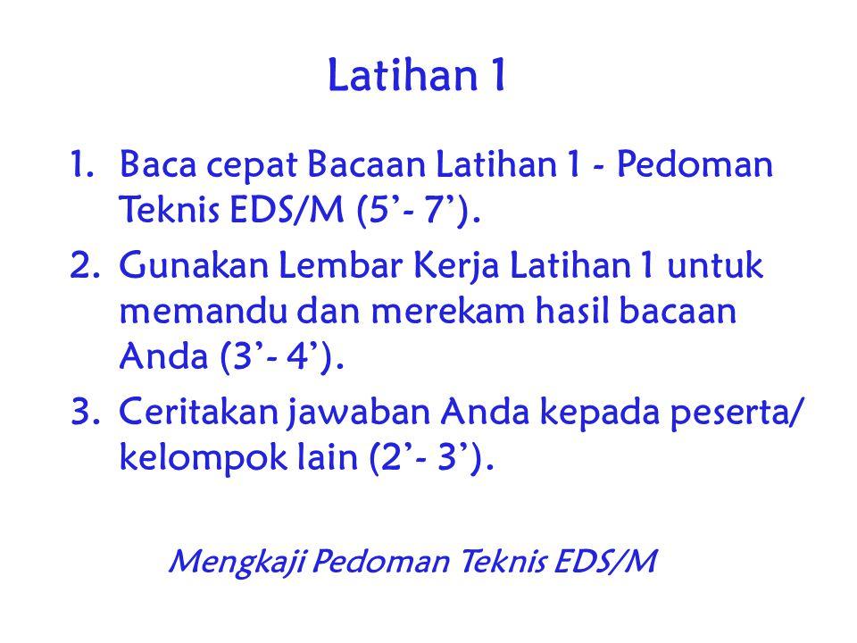Latihan 1 1.Baca cepat Bacaan Latihan 1 - Pedoman Teknis EDS/M (5'- 7').