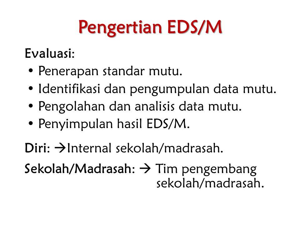 Pengertian EDS/M Evaluasi: Penerapan standar mutu. Identifikasi dan pengumpulan data mutu. Pengolahan dan analisis data mutu. Penyimpulan hasil EDS/M.