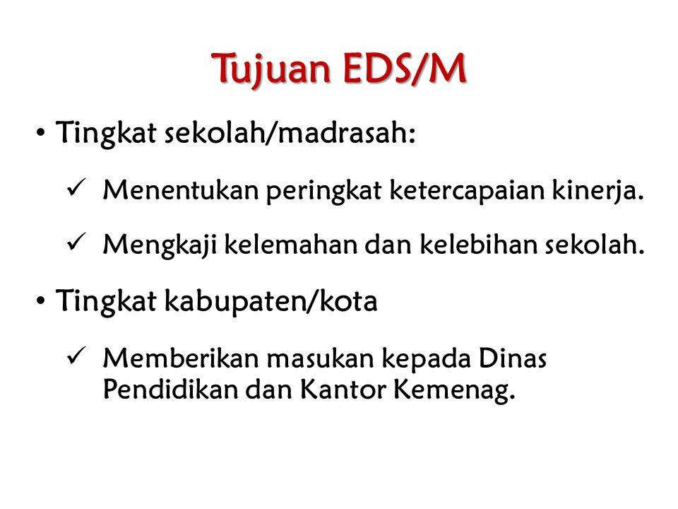 Tujuan EDS/M Tingkat sekolah/madrasah: Menentukan peringkat ketercapaian kinerja.