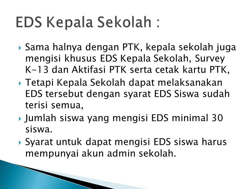  Sama halnya dengan PTK, kepala sekolah juga mengisi khusus EDS Kepala Sekolah, Survey K-13 dan Aktifasi PTK serta cetak kartu PTK,  Tetapi Kepala S