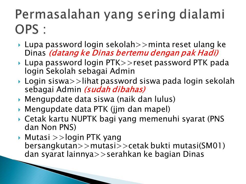  Lupa password login sekolah>>minta reset ulang ke Dinas (datang ke Dinas bertemu dengan pak Hadi)  Lupa password login PTK>>reset password PTK pada login Sekolah sebagai Admin  Login siswa>>lihat password siswa pada login sekolah sebagai Admin (sudah dibahas)  Mengupdate data siswa (naik dan lulus)  Mengupdate data PTK (jjm dan mapel)  Cetak kartu NUPTK bagi yang memenuhi syarat (PNS dan Non PNS)  Mutasi >>login PTK yang bersangkutan>>mutasi>>cetak bukti mutasi(SM01) dan syarat lainnya>>serahkan ke bagian Dinas