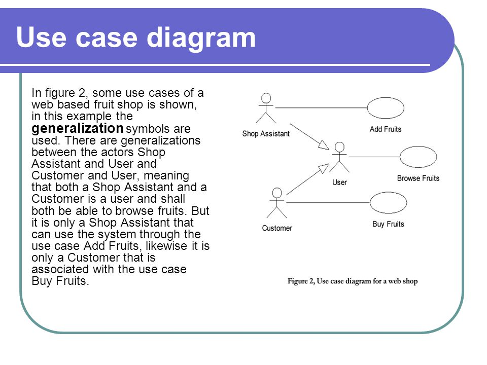 Use case diagram In figure 2, some use cases of a web based fruit shop is shown, in this example the generalization symbols are used. There are genera