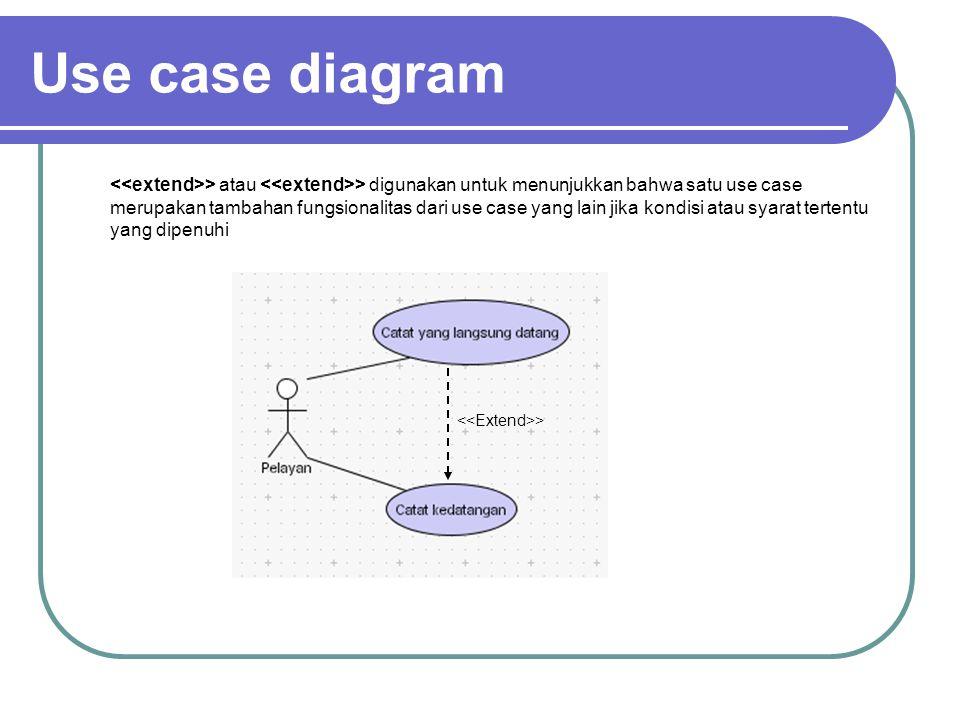 Use case diagram > atau > digunakan untuk menunjukkan bahwa satu use case merupakan tambahan fungsionalitas dari use case yang lain jika kondisi atau