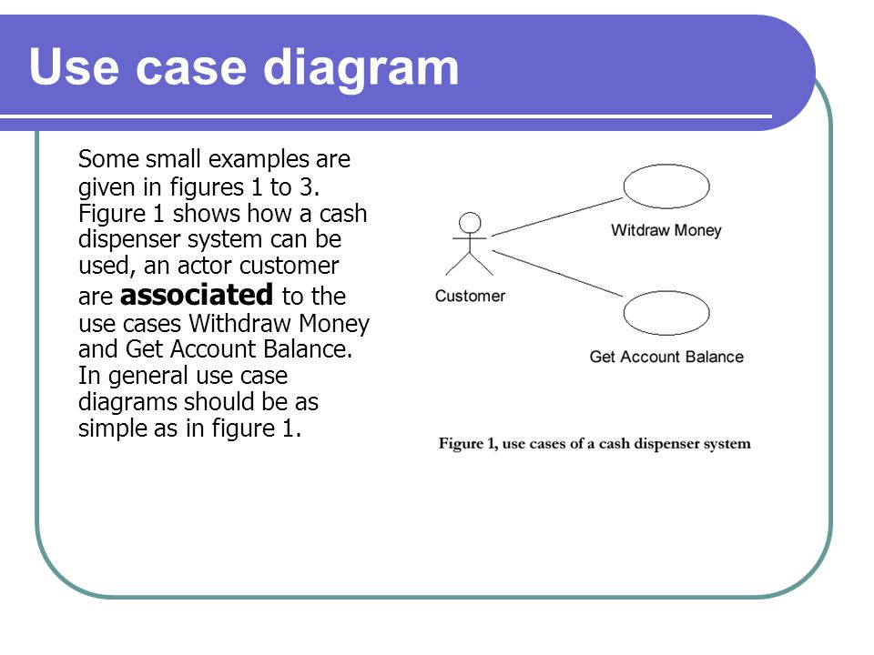 Use case diagram Some small examples are given in figures 1 to 3. Figure 1 shows how a cash dispenser system can be used, an actor customer are associ