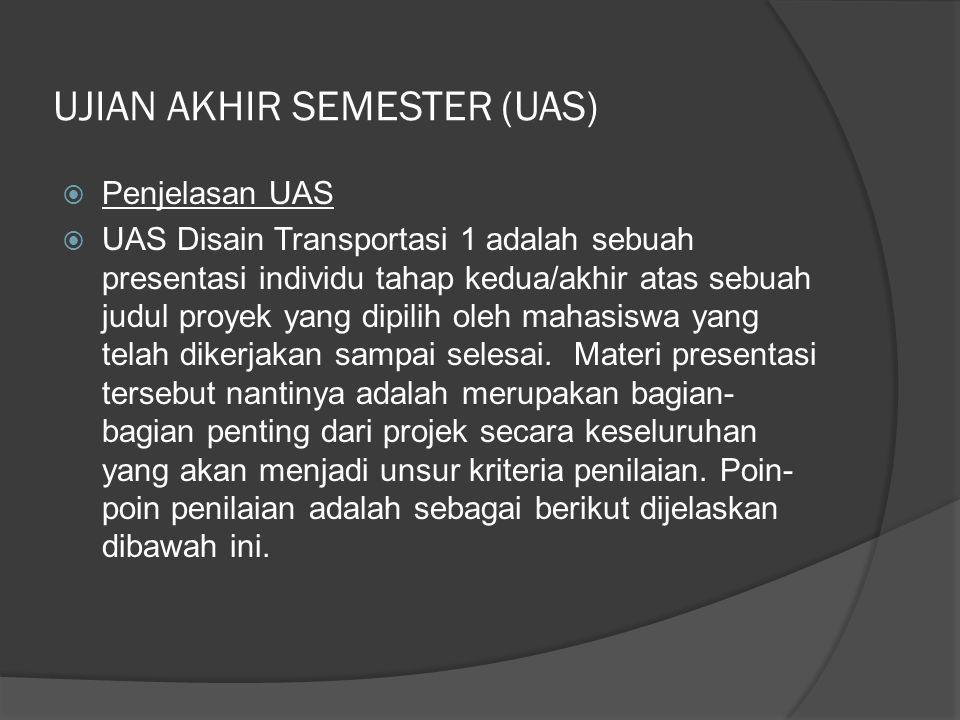UJIAN AKHIR SEMESTER (UAS)  Penjelasan UAS  UAS Disain Transportasi 1 adalah sebuah presentasi individu tahap kedua/akhir atas sebuah judul proyek yang dipilih oleh mahasiswa yang telah dikerjakan sampai selesai.