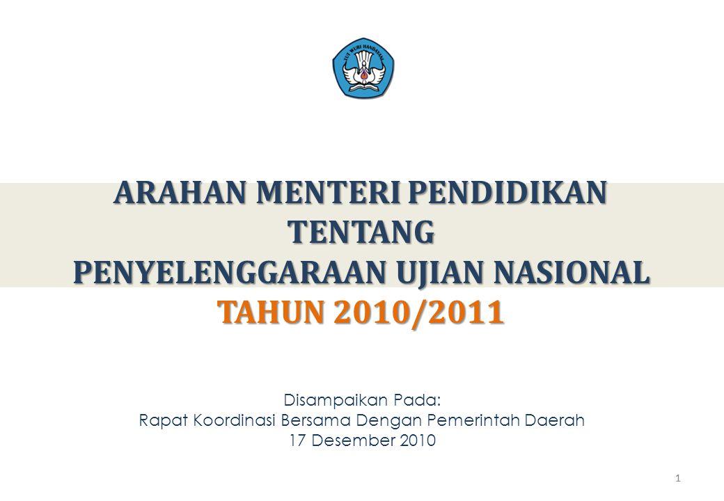 1 ARAHAN MENTERI PENDIDIKAN TENTANG PENYELENGGARAAN UJIAN NASIONAL TAHUN 2010/2011 1 Disampaikan Pada: Rapat Koordinasi Bersama Dengan Pemerintah Daerah 17 Desember 2010