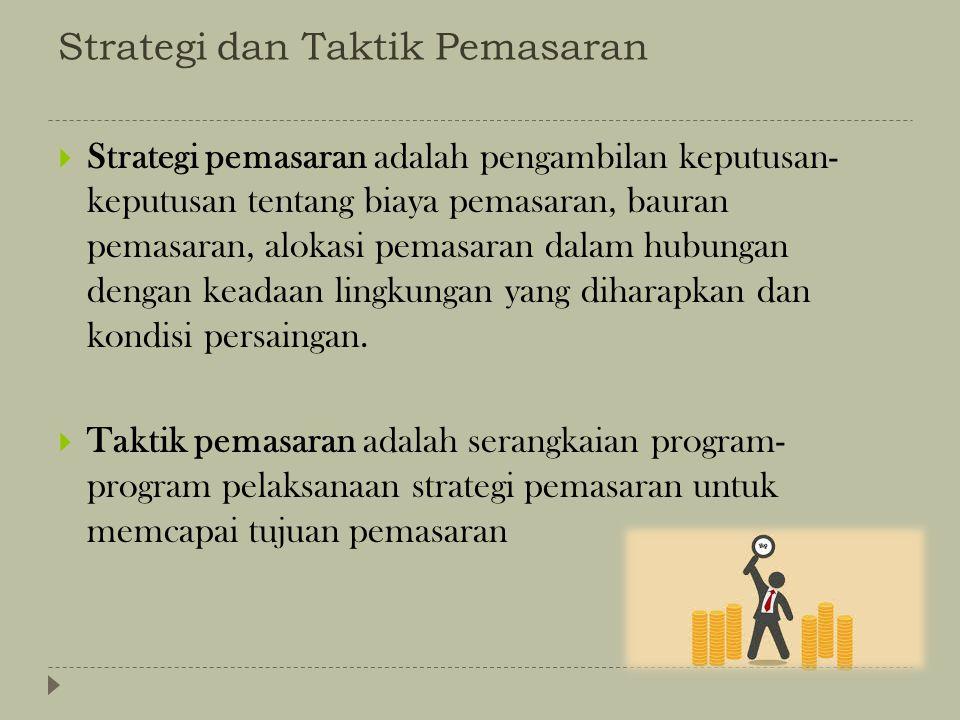 Strategi dan Taktik Pemasaran  Strategi pemasaran adalah pengambilan keputusan- keputusan tentang biaya pemasaran, bauran pemasaran, alokasi pemasara