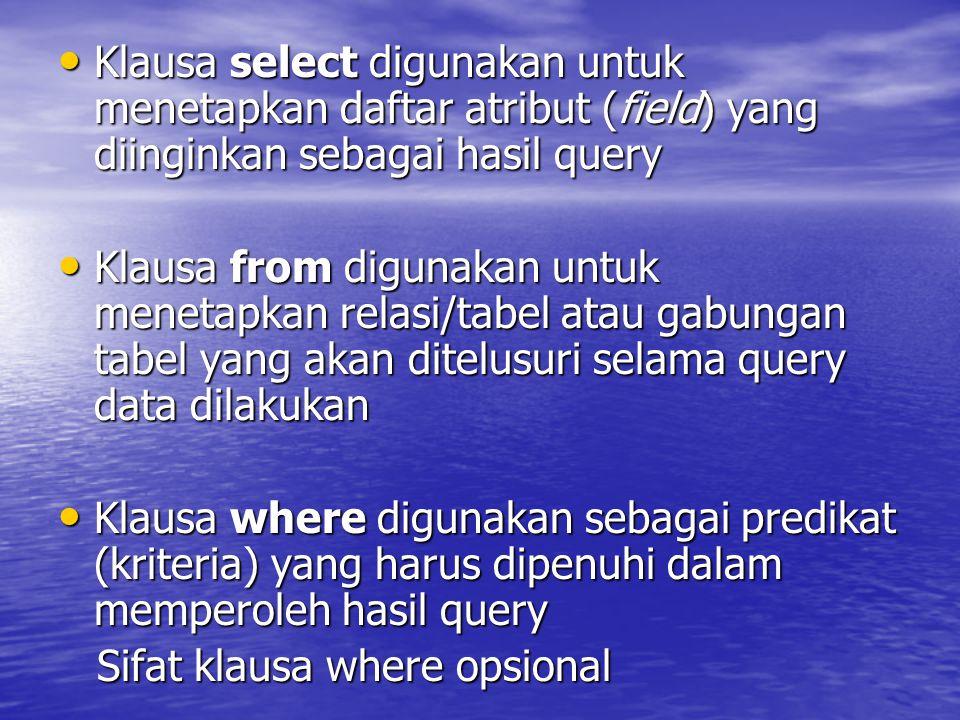 Klausa select digunakan untuk menetapkan daftar atribut (field) yang diinginkan sebagai hasil query Klausa select digunakan untuk menetapkan daftar at