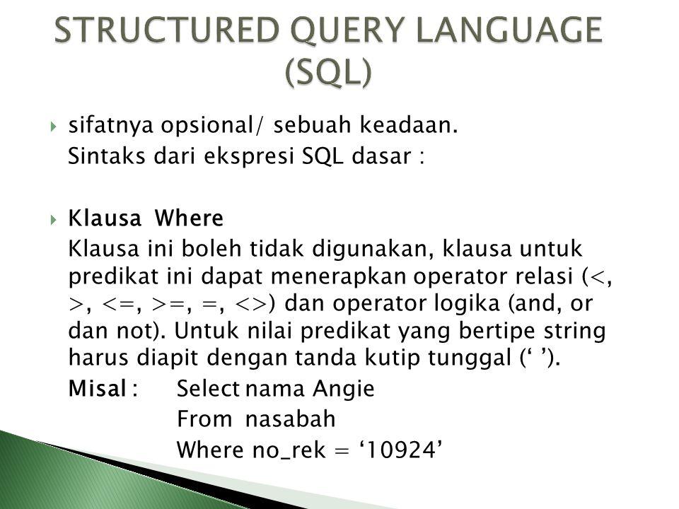  sifatnya opsional/ sebuah keadaan. Sintaks dari ekspresi SQL dasar :  Klausa Where Klausa ini boleh tidak digunakan, klausa untuk predikat ini dapa