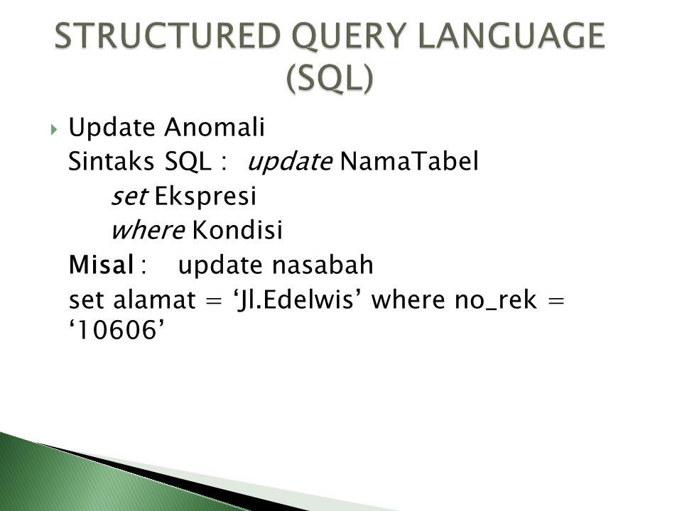  Update Anomali Sintaks SQL : update NamaTabel set Ekspresi where Kondisi Misal :update nasabah set alamat = 'Jl.Edelwis' where no_rek = '10606'