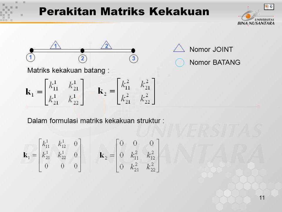 11 Perakitan Matriks Kekakuan 12 23 1 Matriks kekakuan batang : Dalam formulasi matriks kekakuan struktur : Nomor JOINT Nomor BATANG