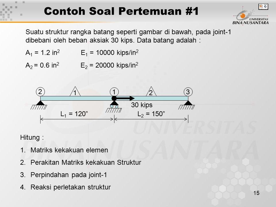 "15 Contoh Soal Pertemuan #1 3 2 1 12 L 1 = 120""L 2 = 150"" 30 kips Hitung : 1.Matriks kekakuan elemen 2.Perakitan Matriks kekakuan Struktur 3.Perpindah"