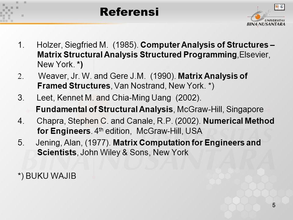 5 Referensi 1. Holzer, Siegfried M. (1985). Computer Analysis of Structures – Matrix Structural Analysis Structured Programming,Elsevier, New York. *)