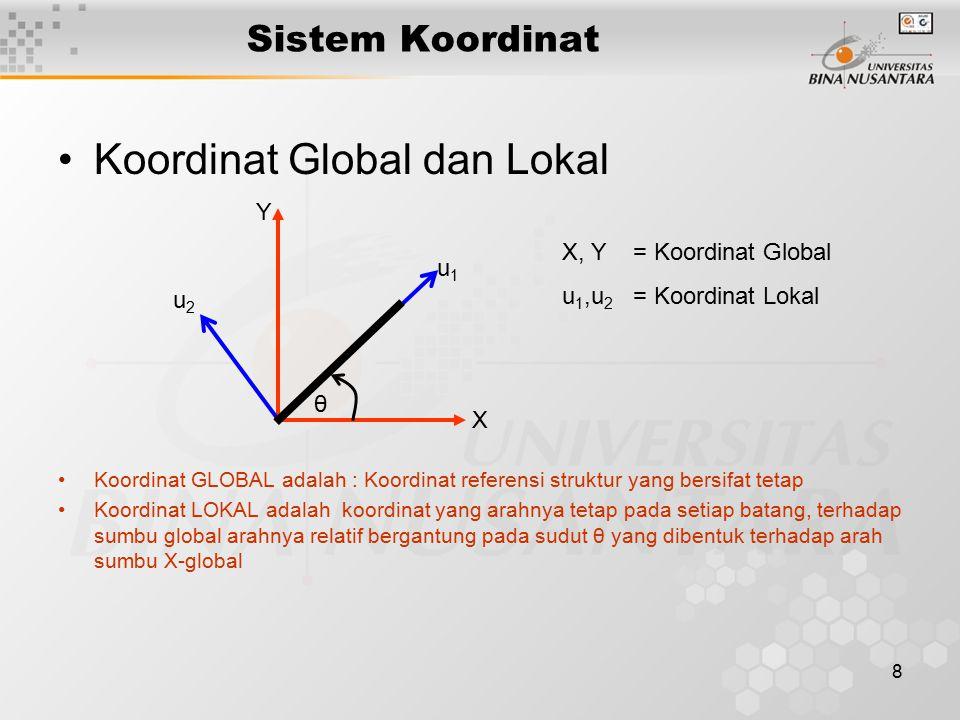 8 Sistem Koordinat Koordinat Global dan Lokal Koordinat GLOBAL adalah : Koordinat referensi struktur yang bersifat tetap Koordinat LOKAL adalah koordi