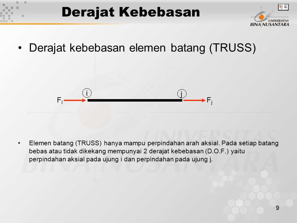 9 Derajat Kebebasan Derajat kebebasan elemen batang (TRUSS) Elemen batang (TRUSS) hanya mampu perpindahan arah aksial. Pada setiap batang bebas atau t