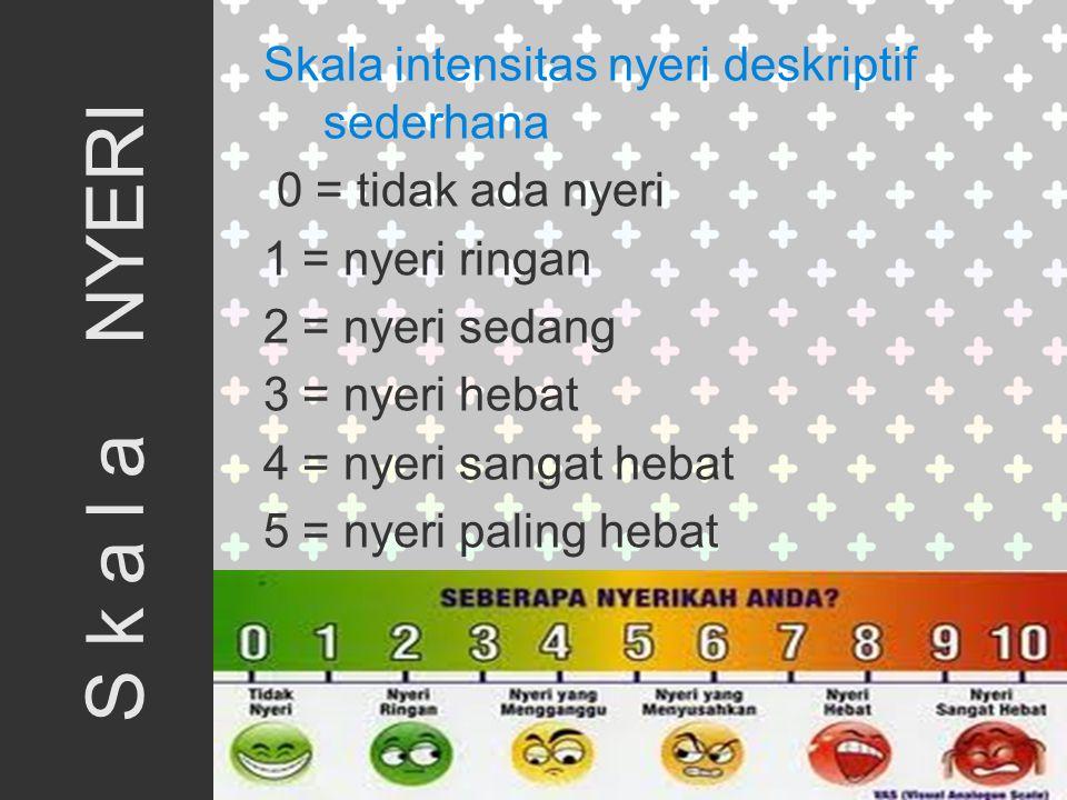 Skala intensitas nyeri deskriptif sederhana 0 = tidak ada nyeri 1 = nyeri ringan 2 = nyeri sedang 3 = nyeri hebat 4 = nyeri sangat hebat 5 = nyeri paling hebat S k a l a NYERI