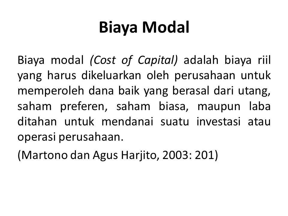 Biaya Modal Biaya modal (Cost of Capital) adalah biaya riil yang harus dikeluarkan oleh perusahaan untuk memperoleh dana baik yang berasal dari utang,
