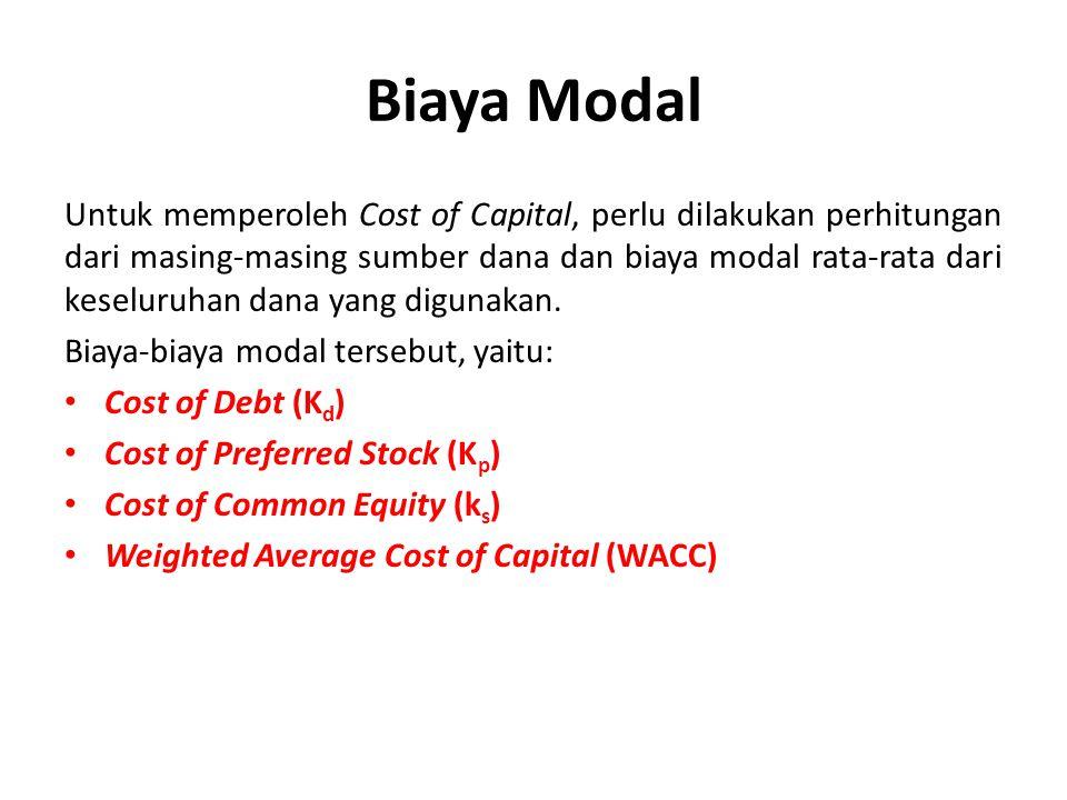 Cost of Debt (Biaya Hutang) Biaya hutang setelah pajak dapat dihitung dengan mengalikan tingkat bunga sebelum pajak dengan tingkat pajak, sehingga diformulasikan sebagai berikut : k b = C t / d dan k d = k b (1- t) Dimana : k d = Biaya utang setelah pajak T= Tingkat pajak C t = Besarnya bunga yang harus dibayarkan per tahun.