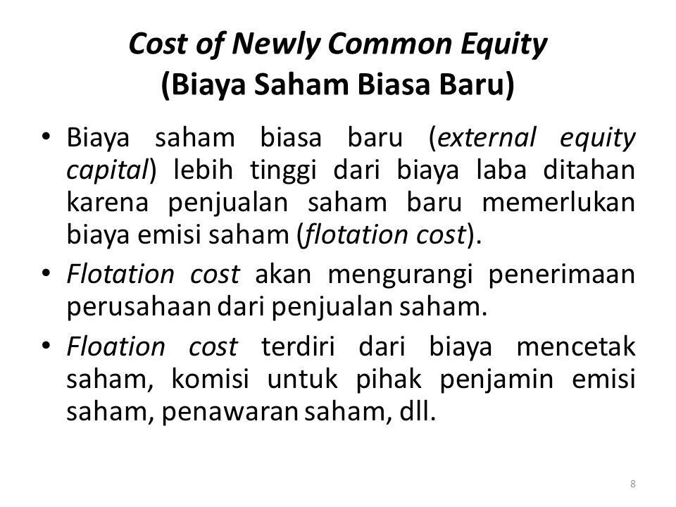 Cost of Newly Common Equity (Biaya Saham Biasa Baru) Biaya saham biasa baru (external equity capital) lebih tinggi dari biaya laba ditahan karena penj