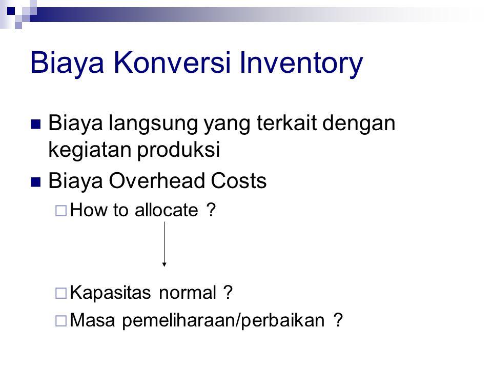 Biaya Konversi Inventory Biaya langsung yang terkait dengan kegiatan produksi Biaya Overhead Costs  How to allocate ?  Kapasitas normal ?  Masa pem