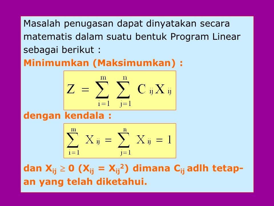 Masalah penugasan dapat dinyatakan secara matematis dalam suatu bentuk Program Linear sebagai berikut : Minimumkan (Maksimumkan) : dengan kendala : dan X ij  0 (X ij = X ij 2 ) dimana C ij adlh tetap- an yang telah diketahui.